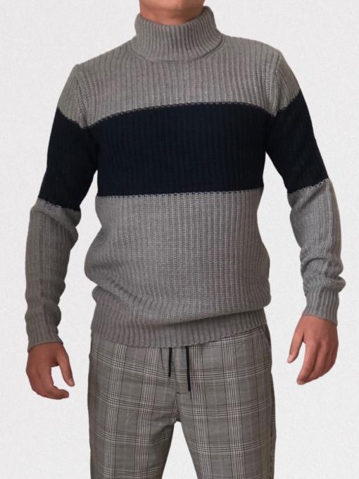 Grå/Navy Striktrøje til mænd med halskrave