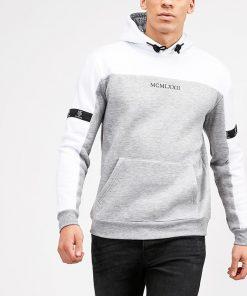 Hvid/grå Hættetrøje til mænd i regular fit