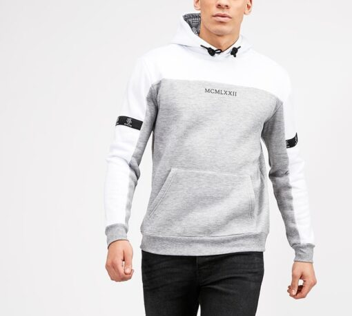 Hvid/grå Hættetrøje til mænd