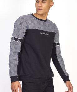 Grå/sort sweatshirt til mænd i regular fit