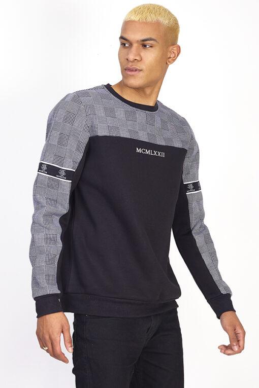 Grå/sort sweatshirt til mænd