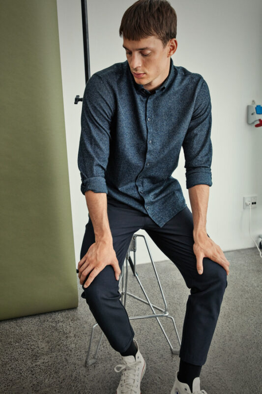 Anthracite sort skjorte i Slim fit