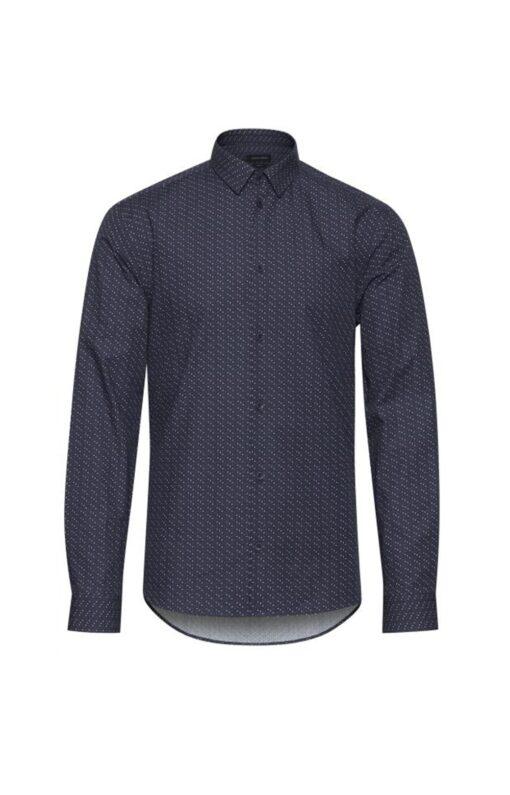 Navy skjorte med prikker – Slim fit – Casual Friday