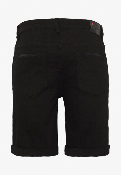 Sorte denim shorts med slid