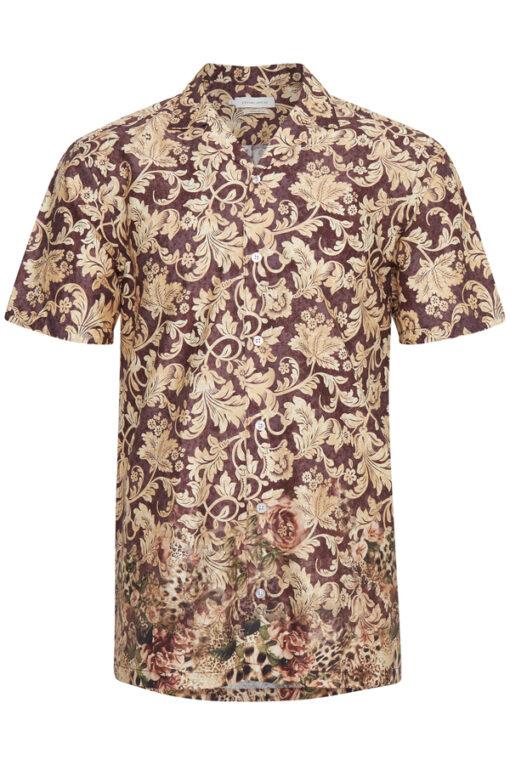 Rød/Brun kortærmet skjorte - Casual Friday