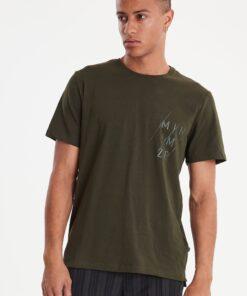 Casual Friday moss grøn t-shirt med print herre