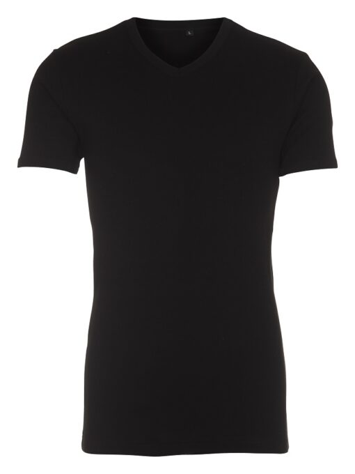 Sort T-shirt med V-hals