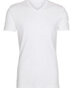 T-shirt med V-hals - Hvid