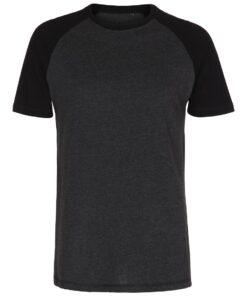 T-shirt i mørkegrå og sort til herre