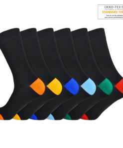 Sorte herrestrømper med farvet hæl og tåspids
