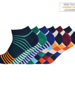 Ankelstrømper til mænd med striber og farver 6 par