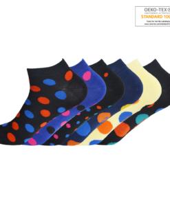 Ankelstrømper med farvede prikker 6 par